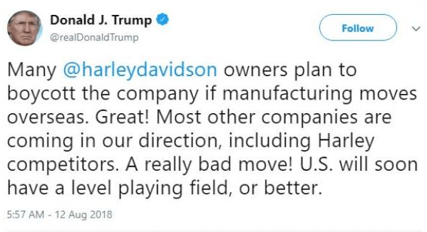 Donald Trump tweet about Harley Davidson