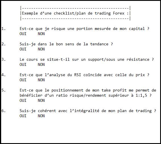 Exemple de checklist Forex