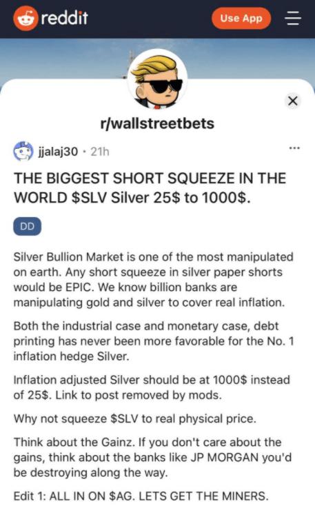 Comentario sobre la plata en WallStreetBets
