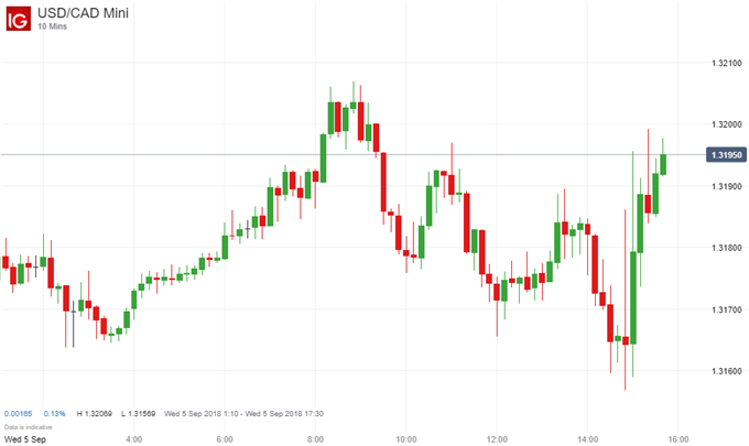 CAD Trades Lower after Unchanged Interest Rate, Underwhelming Report