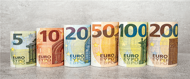 A picture of euro notes