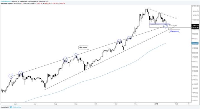 Bitcoin daily log price chart