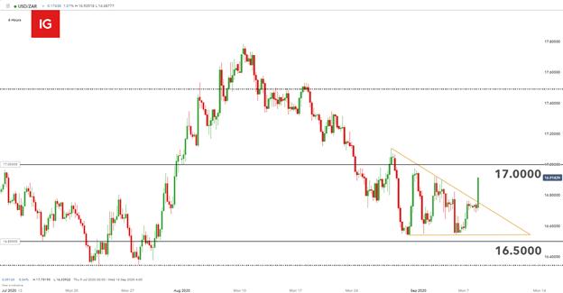 Ultimo USD / ZAR: Rand cade su cifre tristi del PIL sudafricano