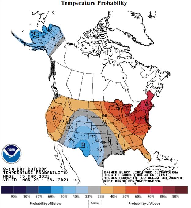 NOAA Temp outlook 8-14 day chart