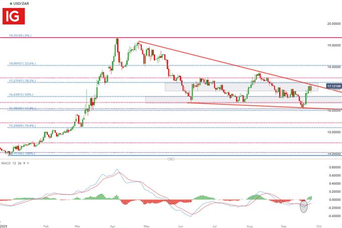 Grafico giornaliero USD / ZAR