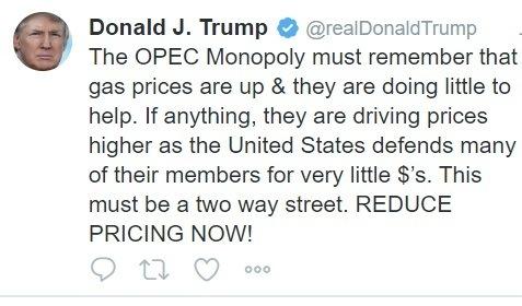 Trump's OPEC tweet.