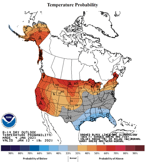NOAA 8-14 day outlook NWS Graph