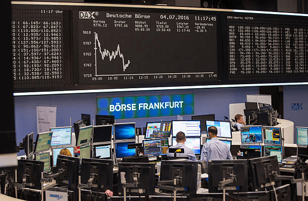 Frankfurt stock exchange floor.