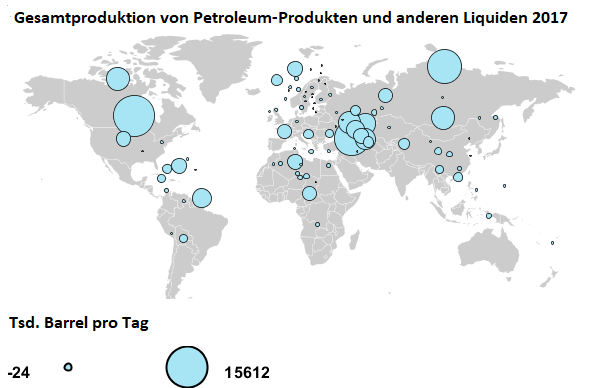 Weltkarte der Petroleum-/Rohöl Gesamtproduktion 2017
