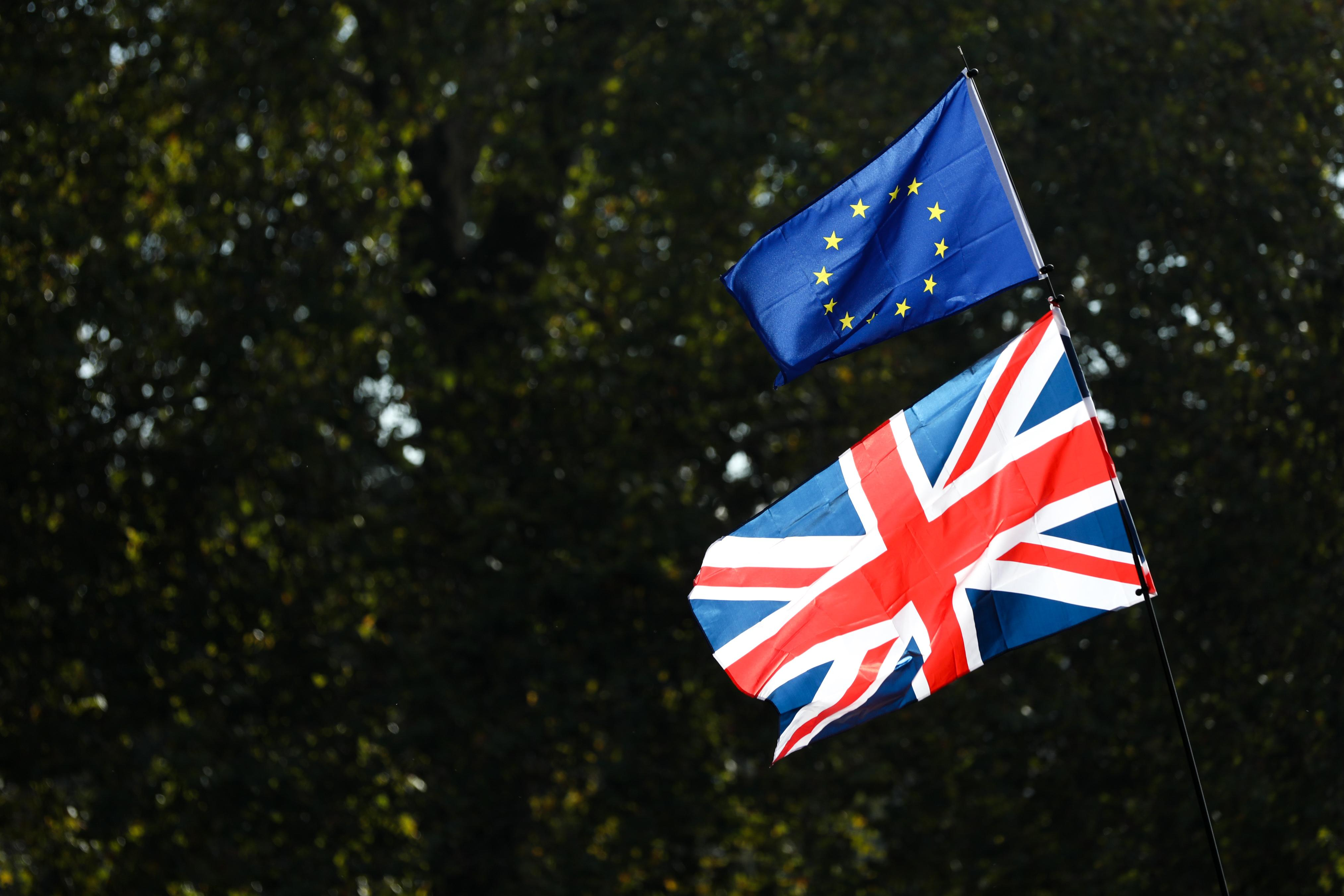 Brexit EU and Union Jack Flags