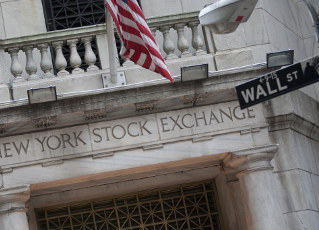 Wall Street sign at New York Stock Exchange