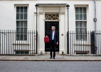 UK Chancellor Philip Hammond holding Budget